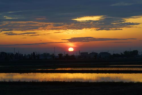 白山市の夕日